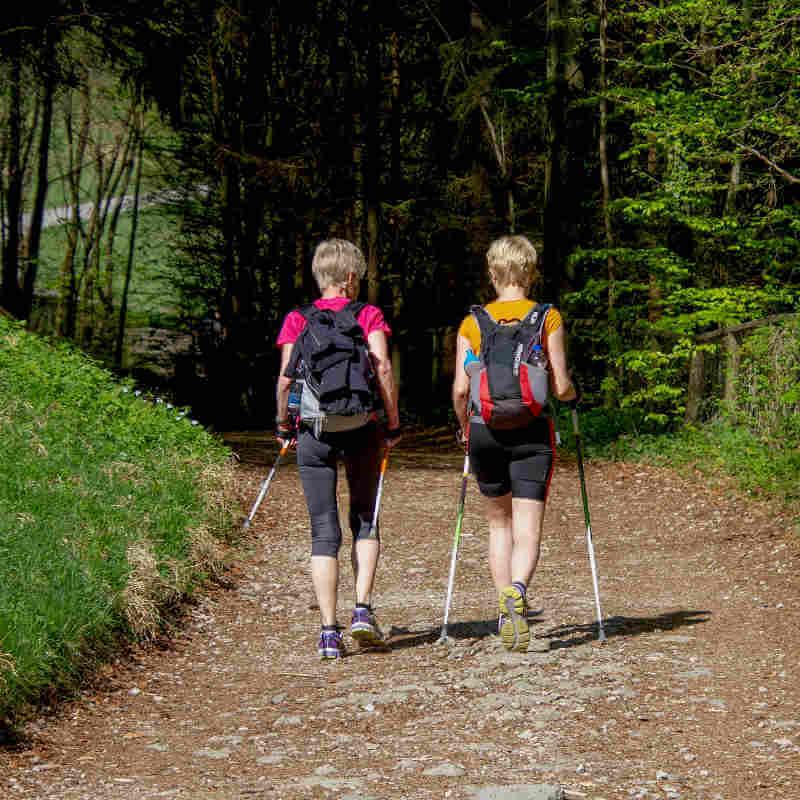 Two women are nordic walking.