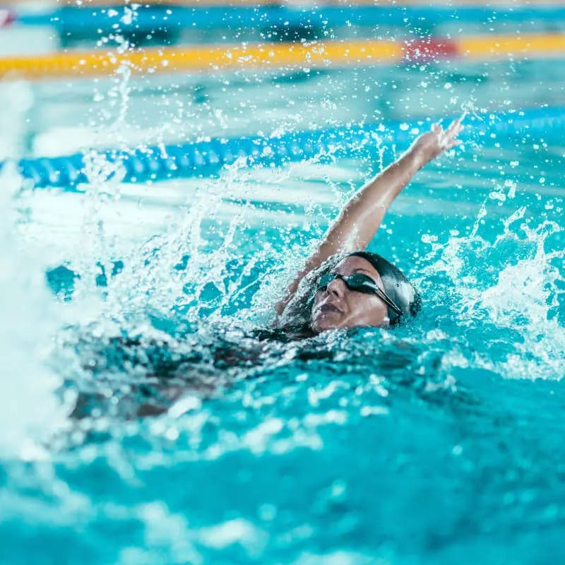 A swimmer doing back strokes.