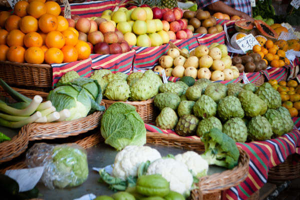 A selection of veggies and fruits.