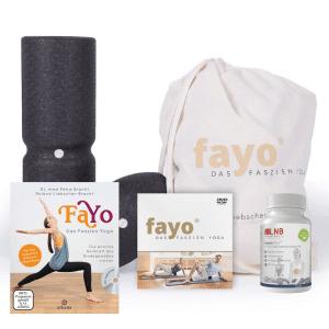 Produkte Fayo: Medi-Faszienrolle, Kugelrolle, DVD und Nahrungsergänzungsmittel