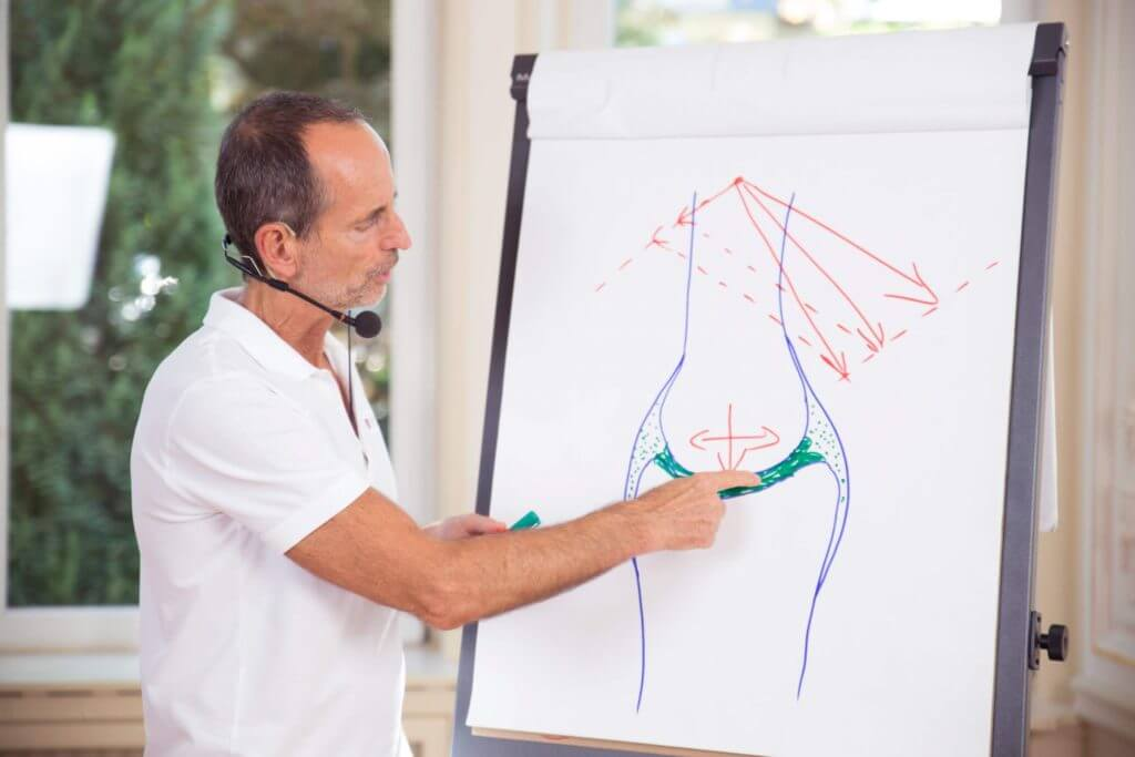 Roland Liebscher-Bracht erklärt eine Skizze an einer Flipchart.