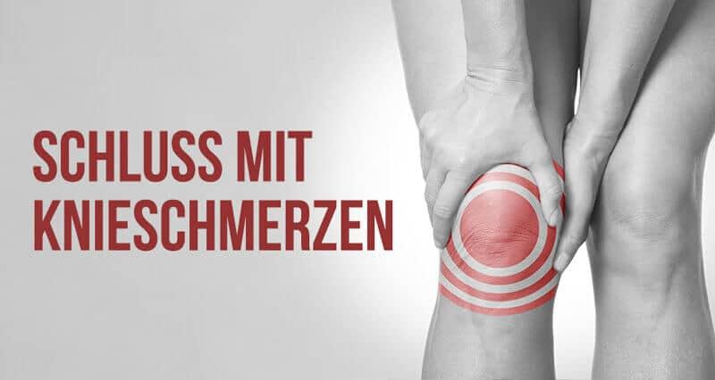 ein schwarz-weiß-Bild zeigt ein rot markiertes Knie bei Meniskus-Schmerzen