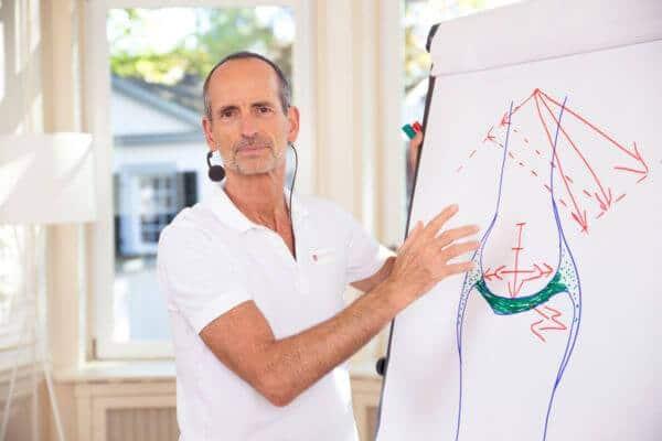 Roland Liebscher-Bracht erklärt etwas anhand einer Skizze an einer Flipchart.