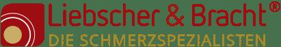 """Logo von Liebscher & Bracht: Links abgerundetes rotes Viereck mit unten links goldenem Kreis drin. Daneben """"Liebscher & Bracht"""" in roter Schrift und darunter in goldener Schrift """"DIE SCHMERZSPEZIALSTEN"""""""