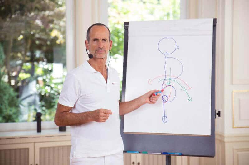 Roland Liebscher-Bracht mit einer Flipchart. Darauf ist eine Skizze, die einen Menschen zeigt.