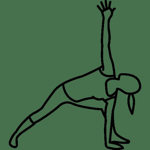 Skizze einer Dehnübung. Die Beine sind weit auseinander gestellt, das vordere ist angewinkelt. Ein Arm wird nach oben gestreckt, der andere wird auf den Boden zum vorderen Bein gebracht.