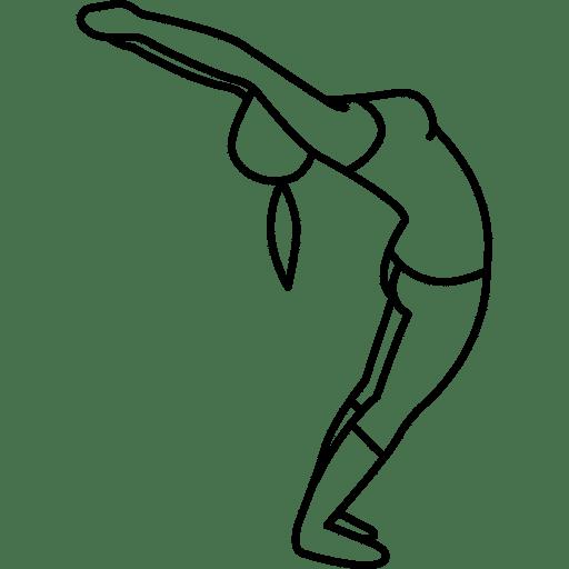 Skizze einer Dehnübung. Im Stehen wird der Rücken stark nach hinten überstreckt, die Arme werden lang über den Kopf gezogen