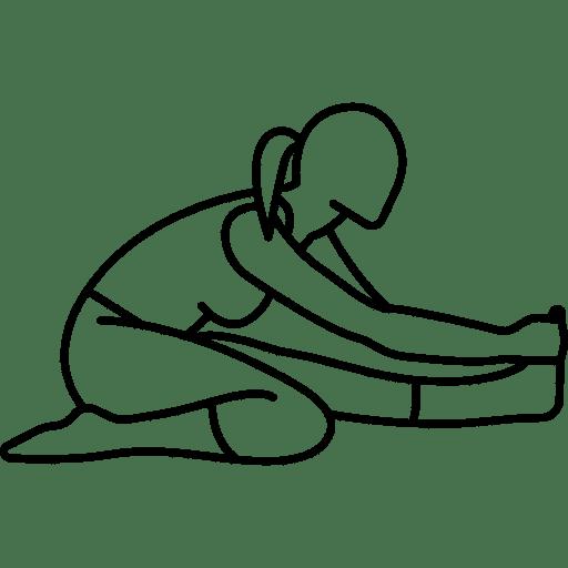Skizze einer Dehnübung. Ein Bein befindet sich im Fersensitz, das andere wird lang nach vorne gestreckt, die Arme berühren den nach vorne gestreckten Fuß. Dehnung des Knies bei Meniskus-Schmerzen