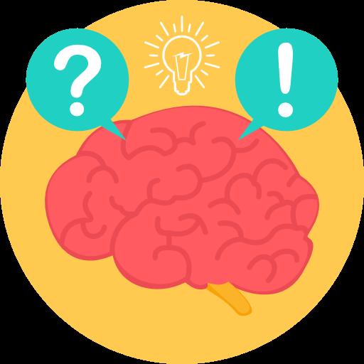 Icon mit einem Gehirn, einem Fragezeichen und Ausrufezeichen