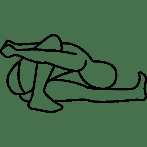 Skizze einer Dehnübung. Ein Bein weit nach vorne gestreckt, das andere steht angewinkelt auf. Der Kopf wird zum Schienbein des nach vorne gestreckten Beins gebracht, der gesamte Oberkörper beugt sich nach unten.
