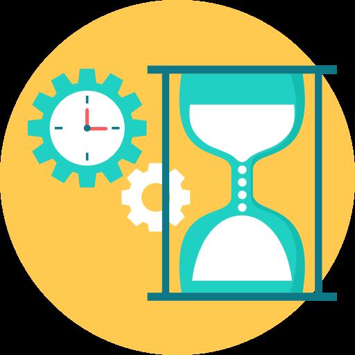 Icon mit einer Sanduhr und einer Uhr im Hintergrund