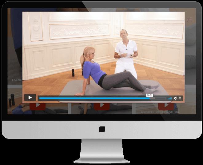 Abbildung eines Computerbildschirmes auf dem ein Auschnitt aus einem Liebscher und Bracht Übungsvideos zu sehen ist