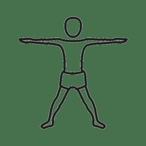 Skizze einer Dehnübung. Beine etwa schulterbreit auseinander stellen, die Arme zur Seite ausstrecken und horizontal halten.