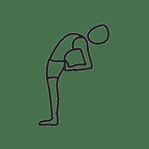 Die Hände ans Gesäß bringen und den Rücken sowie den Kopf nach hinten beugen