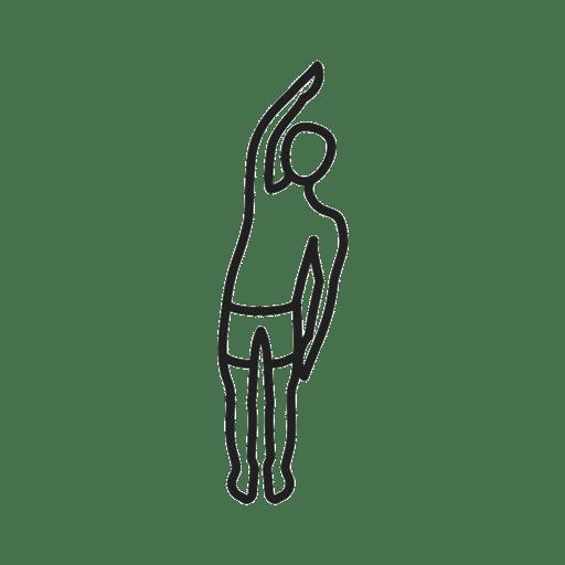 Skizze einer Dehnübung. Etwa hüftbreit stehen, den linken Arm heben und nach rechts beugen.