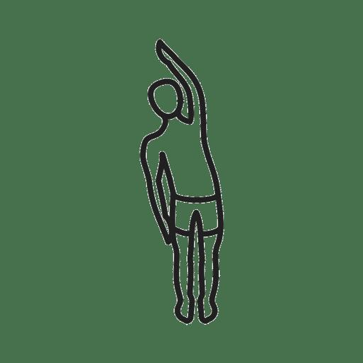 Skizze einer Dehnübung. Etwa hüftbreit stehen, den rechten Arm heben und nach links beugen