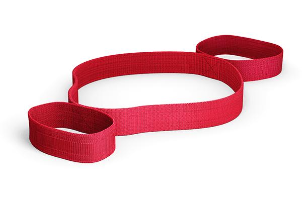 Die rote Dehnungsschlaufe mit 3 Teilbereichen von Liebscher & Bracht vor transparentem Hintergrund
