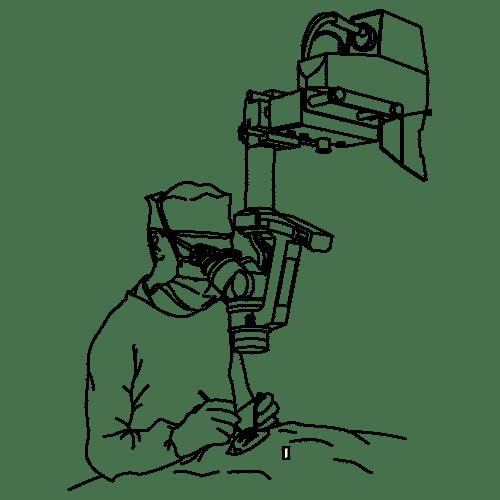 Skizze eines Arztes während einer Knie-Operation
