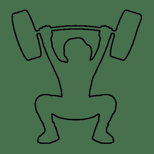 Skizze einer Person Krafttraining mit einer Langhantel. Sie ist in der Hocke und hält die Hantel über dem Kopf.