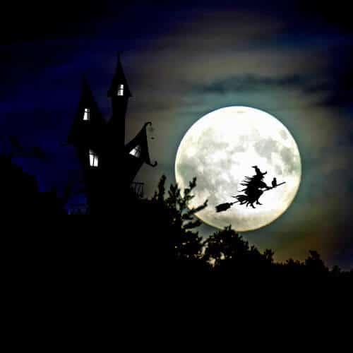 Die Silhouette eines Hexenhauses im Wald und einer fliegenden Hexe auf einem Besen in einer Vollmondnacht.