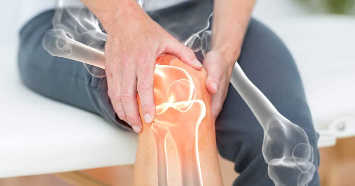 Beine mit eingezeichneten Knochen und Gelenken