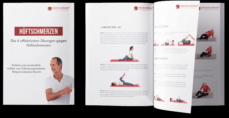 """Ratgeber Deckblatt links """"Hüftschmerzen- Die 4 effektivsten Übungen gegen Hüftschmerzen"""" - Rechts daneben aufgeschlagen der Ratgeber mit jeweils Text und mehreren Fotos zu den Übungen."""