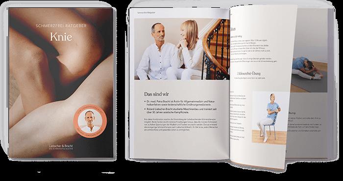 """Pdf - Ratgeber mit links dem Deckblatt """"Knieschmerzen - Die 3 effektivsten Übungen gegen Knieschmerzen"""" Rechts daneben aufgeschlagen die Broschüre, mit Text und Bild für die Übungsbeschreibungen"""