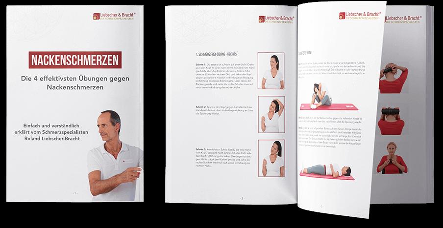 """Pdf - Ratgeber mit links dem Deckblatt """"Nackenschmerzen - Die 4 effektivsten Übungen gegen Nackenschmerzen"""" Rechts daneben aufgeschlagen die Broschüre, mit Text und Bild für die Übungsbeschreibungen"""