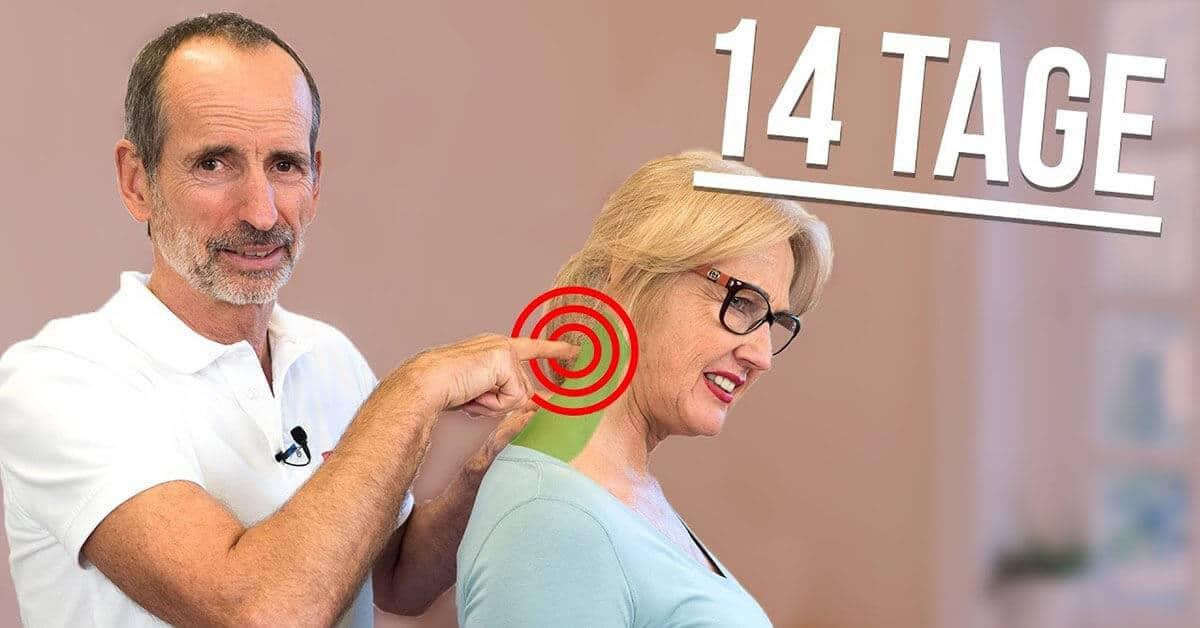 """Auf diesem Bild ist Roland mit einer Dame zu sehen. Roland drückt seinen Zeigefinger auf ihr hinteren Hals, wo drum herum 3 rote Kreise auf diesen Punk aufmerksam machen und schaut sehr Freudig. Oben rechts steht """"14 Tage"""" mit einer leichten Neigung."""