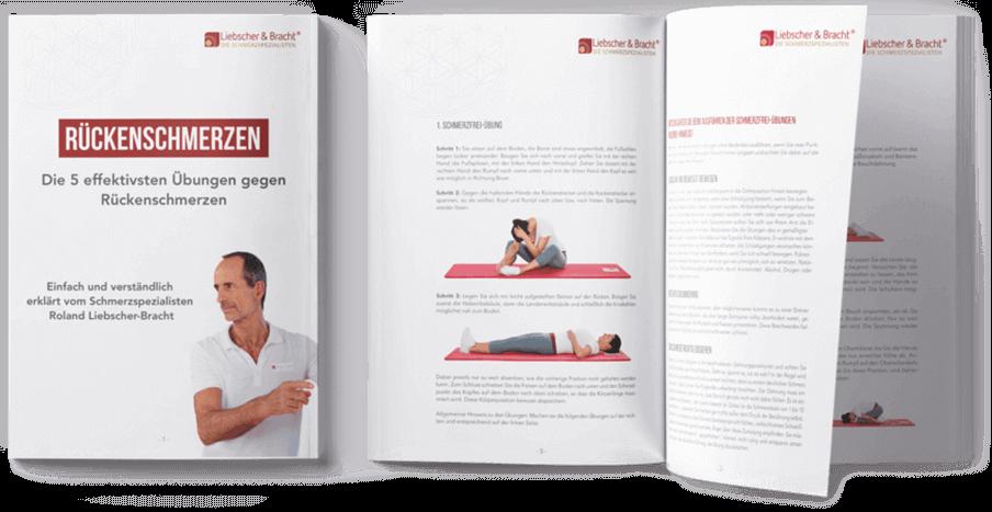 """Ratgeber Deckblatt links """"Rückenschmerzen - Die 5 effektivsten Übungen gegen Rückenschmerzen"""" - Rechts daneben aufgeschlagen der Ratgeber mit jeweils Text und mehreren Fotos zu den Übungen."""