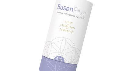 Die Verpackung (wie ein gerades Glas aus Papier nach oben mit einem Glas darüber zum verschliessen) zu BasenPlus+ Premium Nahrungsergänzungsmittel von Liebscher & Bracht