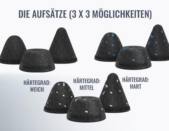 Bild mit den möglichen 3 (Spitze, Rundspitze und Flachspitze) x 3 (Härtegrad: Weich, Mittel und Hart) Aufsätzen für den Drücker