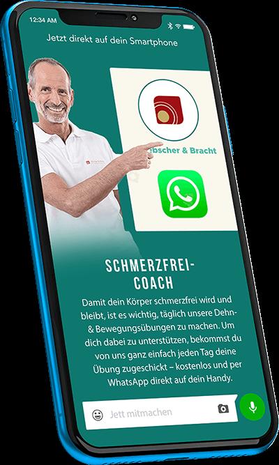 Auf einem Mobiltelefon ist die Anmeldemaske zum WhatsApp Newsletter (Schmerzfrei-Coach) zu sehen.