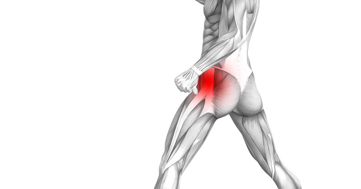 Anatomische Darstellung eines gehenden Menschen mit rot markierter Hüfte