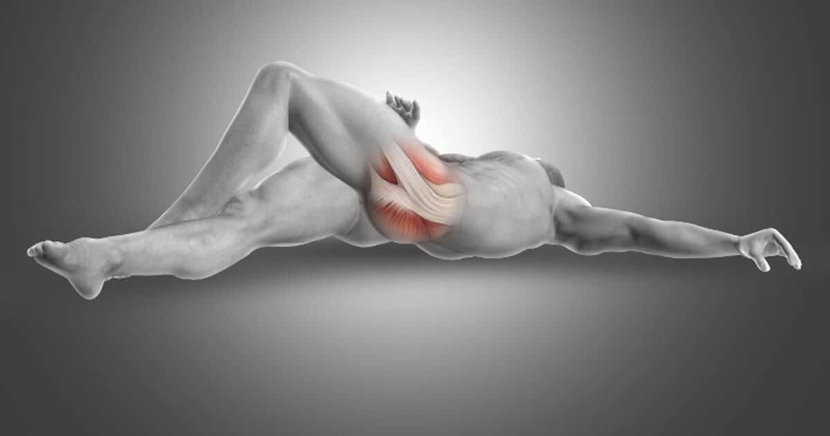 Anatomische Darstellung eines Menschen, der auf dem Rücken liegt und den linken Piriformis offenlegt, in dem er das linke Bein anwinkelt.